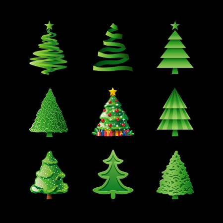 Christmas Trees On Black Vector