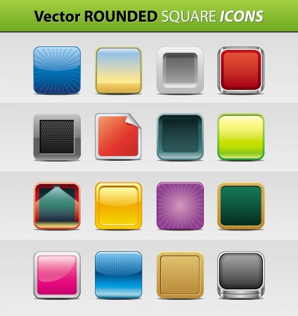 square buttons: set of 16 rounded square icons