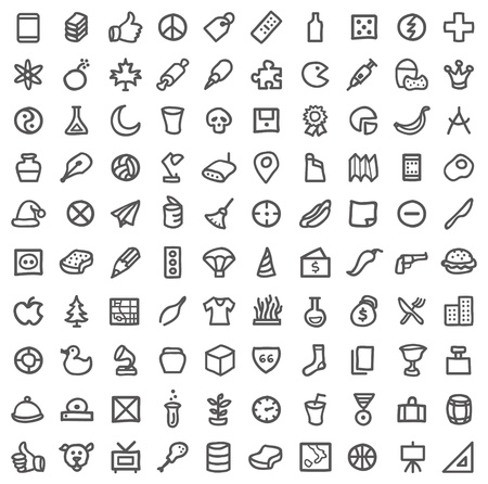 variety: Vector collection of various icons isolated on white