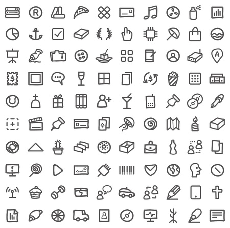 Vector collection of various icons isolated on white