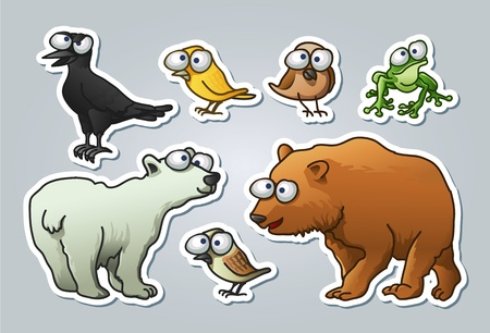 illustrated set of various animals in cartoon style Vector