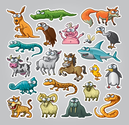 Vector illustrated set of various animals Illustration