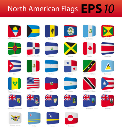 North American flags Vector