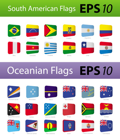 latin americans: South American and Oceania flags