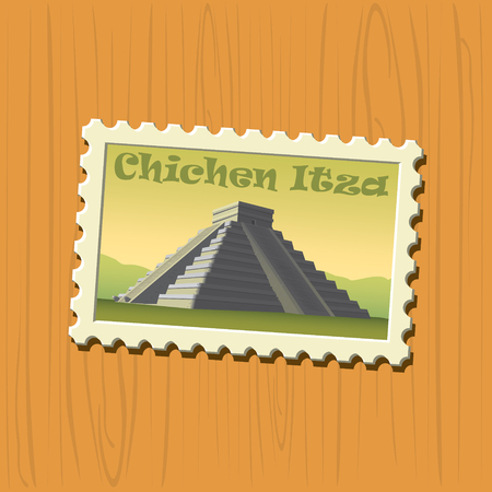 postcard: Chichen Itza vector illustrated stamp Illustration