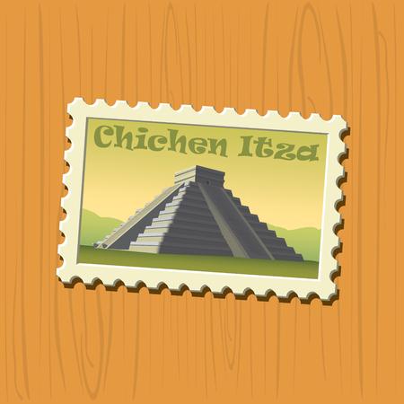 chichen itza: Chichen Itza vector illustrated stamp Illustration