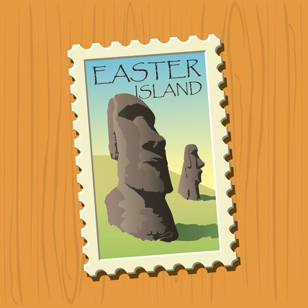Easter island vector illustrated stamp Illustration