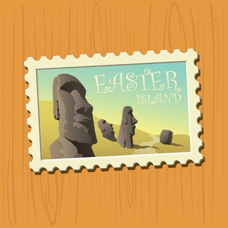Easter island vector illustrated stamp Ilustração