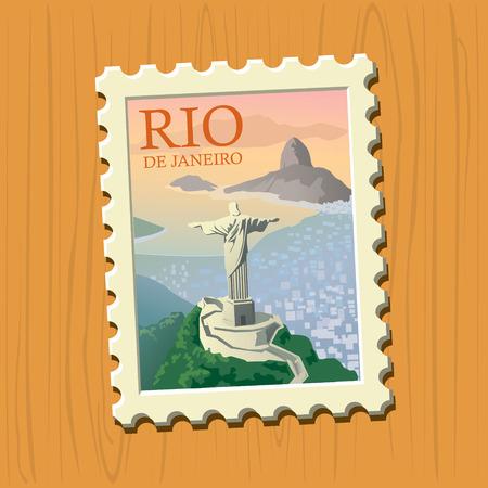 janeiro: Rio de Janeiro vector illustrated stamp