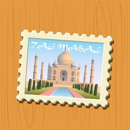 mahal: Taj Mahal vector illustrated stamp Illustration