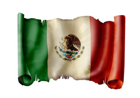 drapeau mexicain: Drapeau mexicain agitant Banque d'images