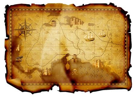 kaart van de piraat Stockfoto