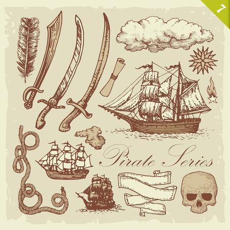 layered: Pirate illustrations. Layered vector set. Illustration