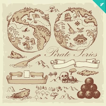 Pirate illustrations. Layered set. 向量圖像
