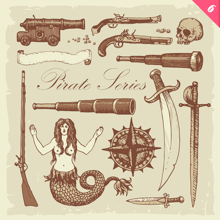 vintage riffle: Pirate illustrations. Layered vector set. Illustration