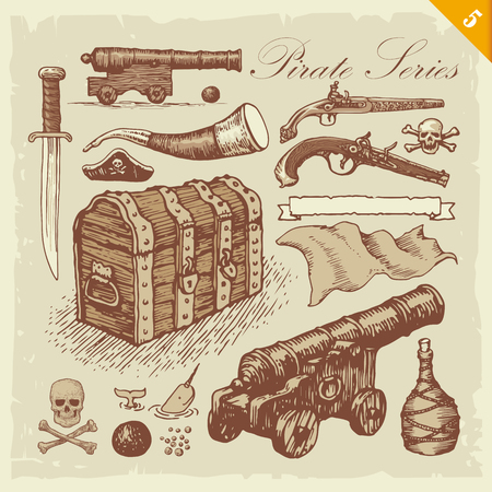 Pirate illustrations. Layered set. Vectores