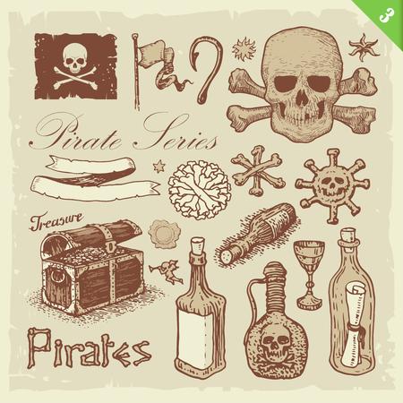 poison bottle: Pirate illustrations. Layered set. Illustration