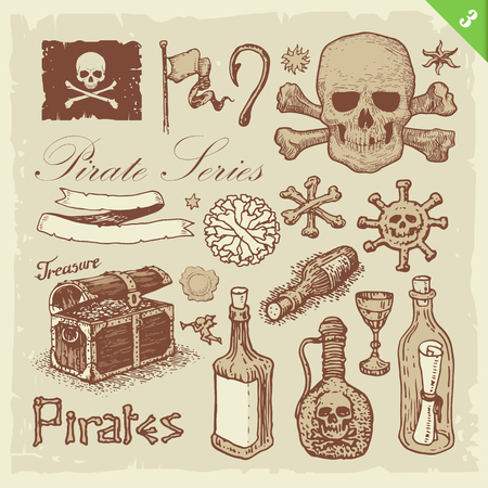 Pirate illustrations. Layered set. Illustration