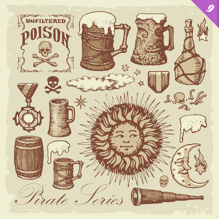 Pirate illustrations. Layered vector set. Illustration