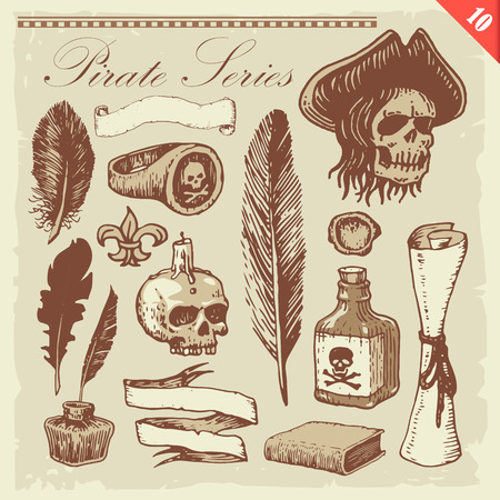 vintage riffle: Pirate illustrations. Layered set. Illustration