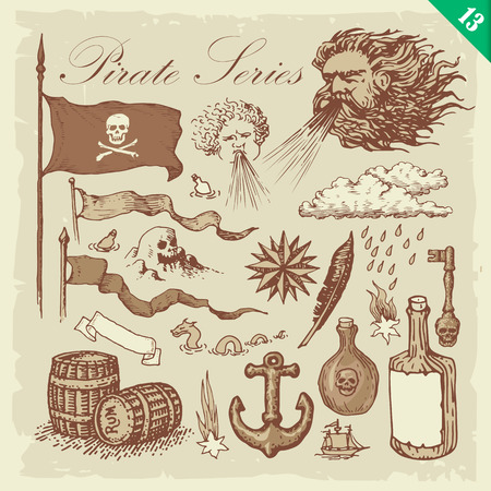 Pirate illustrations. Layered vector set. Illustration