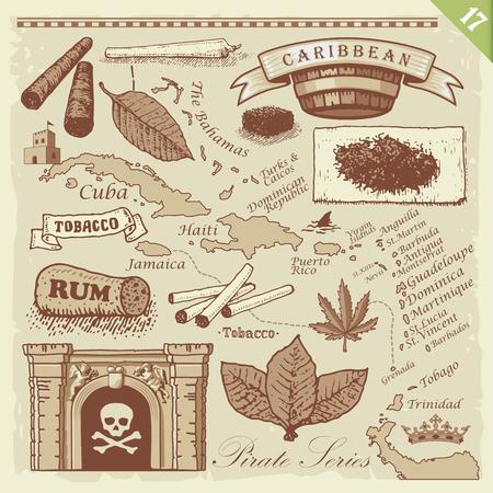 hemp: Pirate illustrations. Layered vector set. Illustration