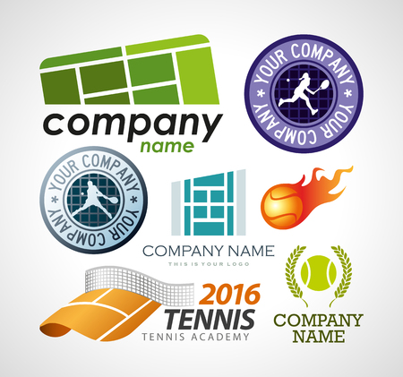 Vector set tennis logo design elements.