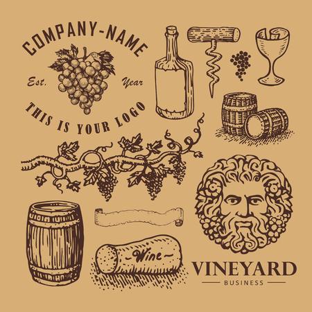 Vector illustrated set of vine logo design elements