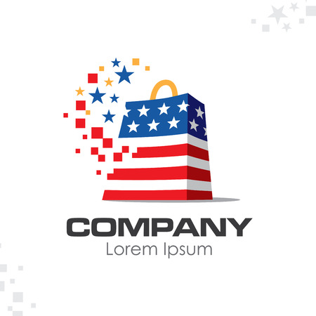 American patriotic shopping bag logo design template