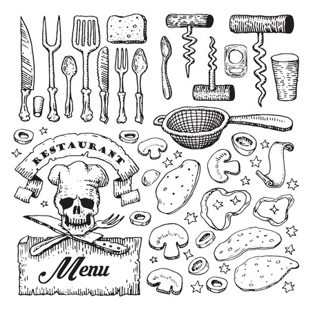 colander: Vector illustrated set of various pizza ingredients and kitchen utensils