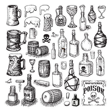 Vector illustrated set of various bottles, mugs, glasses and barrels Vectores
