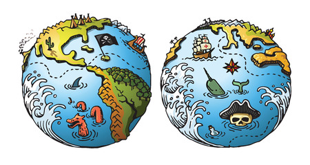 Vector illustrated pirate globe maps in a cartoon style