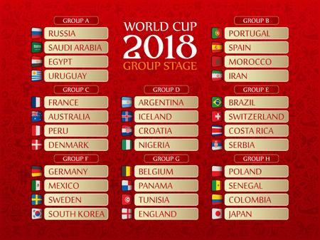 Vector illustrated draw bracket for 2018 soccer World Championship on red Illustration