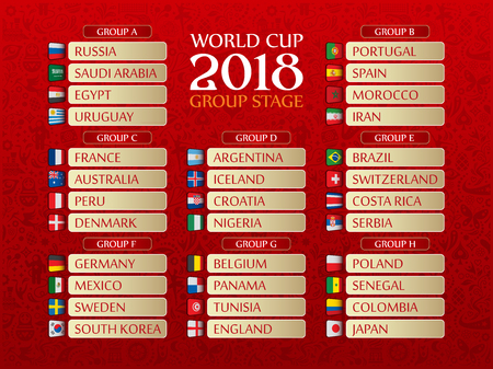 Vector illustrated draw bracket for 2018 soccer World Championship on red