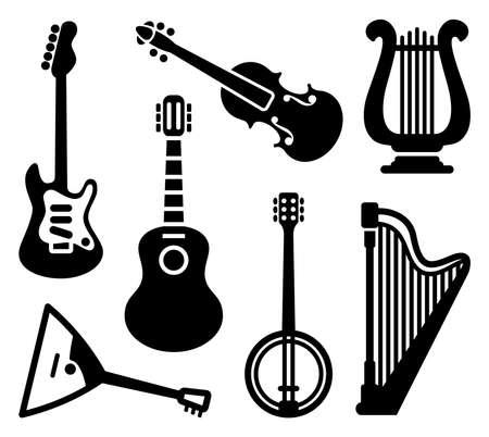 arpa: Iconos de los instrumentos musicales de cuerda
