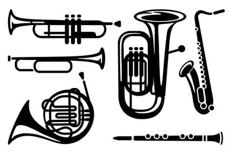 Icons of wind musical instruments Stock Vector - 11886324