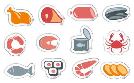 Meat products and seafood Vector
