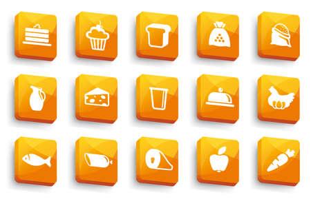 yogur: Botones de alimentos Vectores