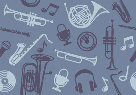 Seamless Background with wind musical instruments Vector