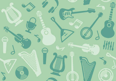 Seamless background with string musical instruments Vector