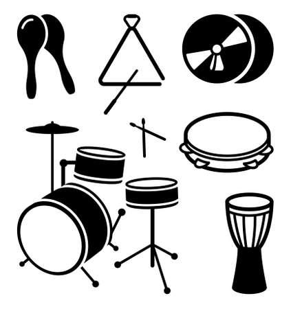 instrumentos musicales: Iconos de los instrumentos musicales de choque