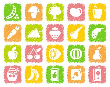 healthful: Las verduras y frutas iconos Vectores