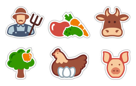 Farmer and agricultural symbols Vector