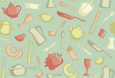 skillet: Retro seamless background of kitchen ware Illustration
