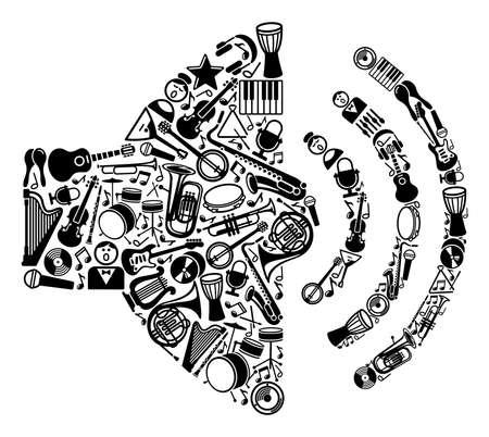 instrumentos musicales: S�mbolo de la reproducci�n del sonido de los instrumentos musicales