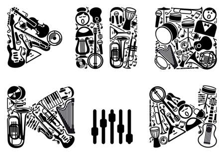 Symbols of sound reproduction from musical instruments Vector