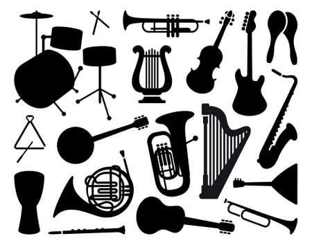 geigen: Silhouetten von Musikinstrumenten Illustration