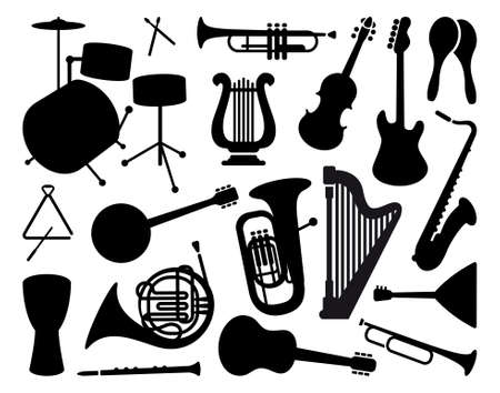 fiddle: Silhouettes of musical instruments