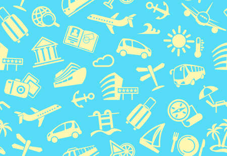Seamless background with symbols of travel Vector