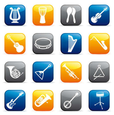 Buttons of musical instruments Vector